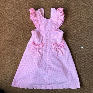 Pink vintage 2T jumper dress with ruffles